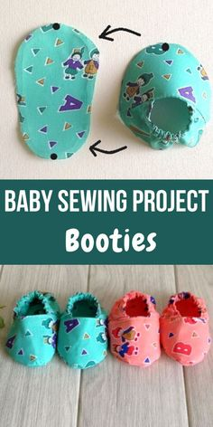 This easy baby booties sewing pattern will help you make cute little booties with the leftover fabric from your little one's dress. This easy DIY sewing tutorial will help you dress your little one up in a matching dress and shoes! Easy Baby Sewing Patterns, Baby Clothes Patterns, Baby Sewing Projects, Baby Sewing Tutorials, Dress Patterns, Baby Shoes Pattern, Shoe Pattern, Pattern Sewing, Baby Bootie Pattern