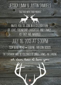 oh dear, deer, woodgrain, and antler wedding invitation - gray woodgrain.
