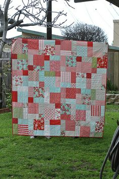 @Samantha Anglin  ....Your Picnic Quilt!  Disappearing Nine Patch made with Moda Vintage Modern Layer Cake