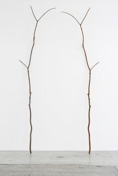 Alicja Kwade . Unbestimmter Tausch, 2014 Wood, iron, 2 parts 366 x 115 x 48 cm A branch is mirrored and made in iron, creating a second similar, yet different version of the first.