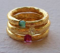 Gold Hammered Stackable Rings