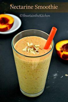 Nectarine Smoothie Recipe - Nectarine Banana Smoothie - Shweta in the Kitchen Healthy Juices, Healthy Smoothies, Healthy Drinks, Healthy Snacks, Detox Juices, Juice Smoothie, Smoothie Drinks, Smoothie Recipes, Nectarine And Banana Smoothie