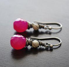 Earrings Hot Pink Chalcedony Sterling Silver by WildRoseJewels, $32.00