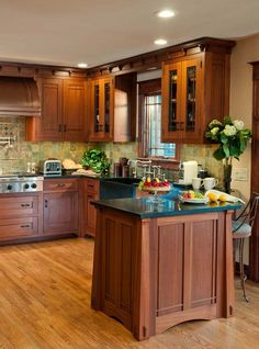 traditional light wood kitchen cabinets #05 (crown-point