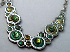 Necklace Lime and Chartreuse Bubbles Polymer Clay and Crystals