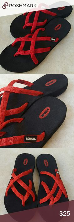 Teva flip Flops Black and Red like New Teva's. In great condition with minimal wear. Great summer go too's. Teva Shoes Sandals
