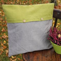 Linen Pillow Cover rustic pillow cover green pillow by ALiusyDecor
