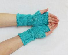 turquoise mittens, blue mittens, fingerless gloves, arm warmers, accessories, wrist warmers, knit fingerless gloves,  hand warmers on Etsy, $25.24 AUD