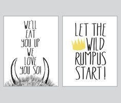 well eat you up where the wild things are set of two 8x10 prints