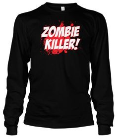 (Cybertela) Zombie Killer Thermal Long Sleeve T-shirt Funny Horror Fictional Tee (Black 2X-Large)