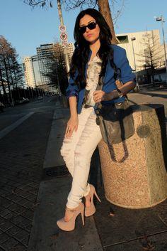 Skinny jeans and uber heels