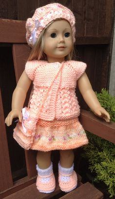 American Girl Doll.Top Down Reversible Lacy Cardi Set by jacknitss