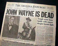A sad day indeed ~ the death of John Wayne, an American hero ~ June 11, 1979, Los Angeles, CA