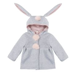 iEFiEL Gray Infant Baby Girls Cute Bunny Coat with Rabbit Ears Hood Jacket - COAT - GIRLS - KIDS