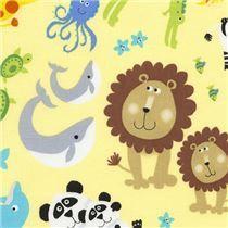 yellow fabric with zebra elephant giraffe animal by Timeless Treasures