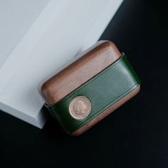 Handmade Green Leather Wood AirPods Pro Case Custom Leather AirPods Pro Case Airpod Case Cover Coin Card, Card Wallet, Leather Tooling, Leather Purses, Other Accessories, Fashion Accessories, Woodworking Items That Sell, Airpods Pro, Leather Crafts