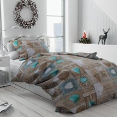 Bavlněné povlečení hnědé béžové tyrkysové romantické provence shabby srdce dřevo vzorované rustikální krajka Provence, Comforters, Shabby, Blanket, Bed, Home, Creature Comforts, Quilts, Stream Bed