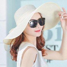 e4f6f8c3 Simple Summer Straw Hat Women Big Wide Brim Beach Hat Sun Hat Foldable Sun  Block Uv Protection Panama Hat Bone Chapeu Feminino