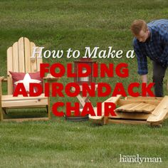 Saturday Morning Workshop: How To Build A Folding Adirondack Chair -You can find Workshop and more on our website.Saturday Morning Workshop: How To Build A Fol. Woodworking Furniture Plans, Woodworking Projects Diy, Diy Wood Projects, Furniture Projects, Woodworking Machinery, Rockler Woodworking, Diy Outdoor Furniture, Diy Furniture, Rustic Furniture