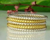 five twisted ring 1mm,sterling silver 925,     Stacking Rings, 24kt Gold, Vermeil