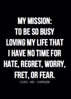 my mission: to be so busy loving my life that i have no time for hate, regret, worry, fret, or fear.