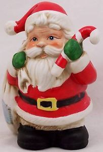 "Vintage Homco Santa Bank 5101 with Candy Cane Stopper 6 75"" Tall Ceramic 