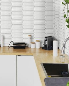 Playing with different shapes is a great way to add intrigue to your space if bold colours and textures aren't your thing 🤩 The Florentia collection features picket tiles and shows that even a neutral white tile can be eye-catching. What's your favourite tile shape? Bold Colors, Colours, White Tiles, Different Shapes, Your Space, Backsplash, Blinds, Neutral, Curtains