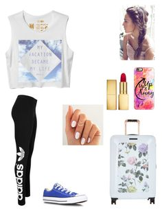 """Vacation"" by gymnastics7 ❤ liked on Polyvore featuring RVCA, Casetify, adidas Originals, Ted Baker, Converse and AERIN"