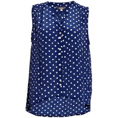 Mercy Delta Miki Polka Dot Shirt - Navy (15.095 RUB) ❤ liked on Polyvore featuring tops, blouses, shirts, tank tops, blusas, navy, navy dot blouse, sleeveless shirts, blue shirt and navy blouse