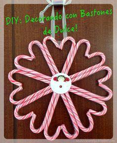 #DIY: #decorando con Bastones de Dulce #candy #cane #corona #navidad #christmas #delces