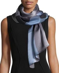 Mega Check Mulberry Silk Scarf, Lavender