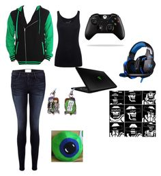 """Jacksepticeye inspired outfit"" by bunny-winchester on Polyvore featuring Juvia, Frame Denim, Razer, women's clothing, women's fashion, women, female, woman, misses and juniors"