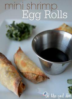 Easy and healthy Mini Shrimp Egg Rolls Recipe theblueeyeddove.com # ...