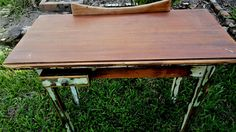 Originally a washstand table, the top has had a slab of red cedar placed over the bench. Small pocket drawer, original paint, lightly sanded and sealed. Red Cedar, Furniture, Home Decor, Decoration Home, Room Decor, Home Furnishings, Arredamento, Interior Decorating