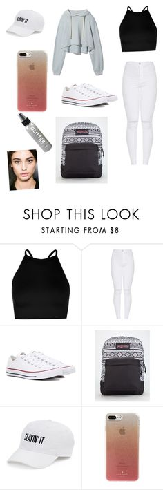 """""""First day of school // my fav so far"""" by luluabusa ❤ liked on Polyvore featuring Boohoo, Converse, JanSport, SO and Kate Spade"""