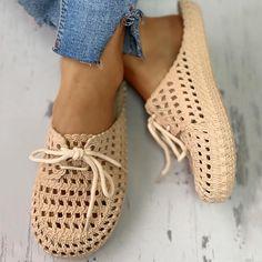 Summer Slippers, Summer Shoes, Janina, Slipper Sandals, Mocassins, Crochet Shoes, Lace Up Shoes, Art Shoes, Women's Shoes