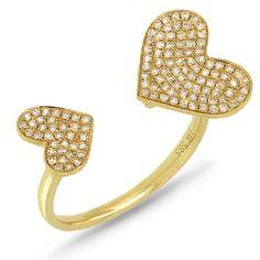 £400 Beautiful 14k Gold Diamond Heart Ring. by BraxJewelers on Etsy