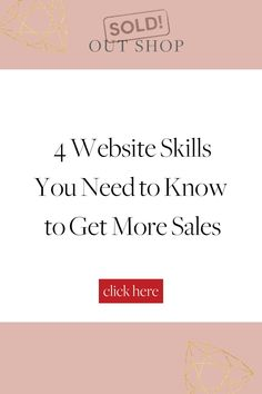 4 easy website skills you need to know to make more sales on your e-commerce website. We cover conversions, traffic, analytics, and sales funnels. Business Sales, Business Design, Business Tips, Website Analysis, Independent Business, How To Become, How To Get, Simple Website, Sales Tips