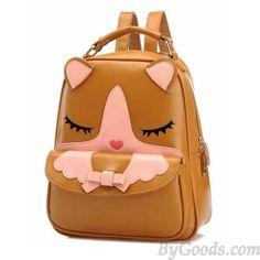 <3 Cute Brown Cat Printed Backpack <3