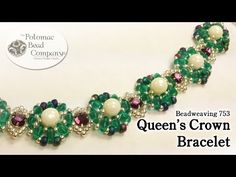"""▶ Make a """" Queen's Crown """" Bracelet - YouTube - smukt i grønt, hvidt og lilla perle og superduo - beautiful in green, white and purple pearl and superduo"""