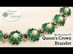 """▶ Make a """" Queen's Crown """" Bracelet - YouTube - smukt i grønt, hvidt og lilla perle og superduo"""
