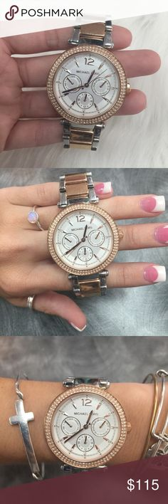 Michael Kors Rose gold & Silver Watch Links have been removed and I don't have them. Fits a smaller wrist. There are no scratches on the face. This is a beautiful watch! No trades. Michael Kors Accessories Watches