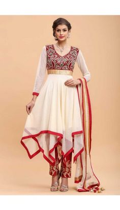 Cream and Red Frock Style Trouser - 1686