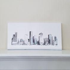 Houston Skyline (blue) - original digital art design of the Houston, Texas skyline. Mounted canvas pictured. #JanMStephenson #JanMStephensonDesigns #Houston #Heights #HoustonHeights #Art #Gift #Home