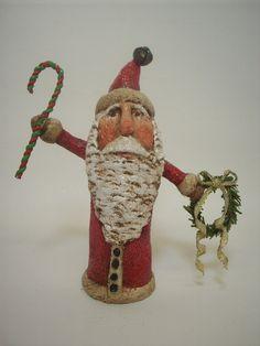 Primitive Paper Mache Folk Art Santa by papiermoonprimitives, $50.00