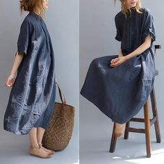Vrouwen casual loszittende kleding met korte mouwen zomer overhemd jurken