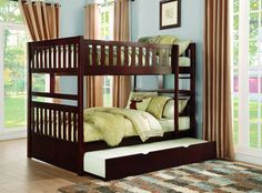 Weston Home Full/Full Bunk Bed with Toy Box, Dark Cherry Finish Bunk Bed Sets, Bunk Bed With Trundle, Full Bunk Beds, Kids Bunk Beds, Wood Bunk Beds, Bunk Beds With Stairs, Kids Bedroom Furniture, Kitchen Furniture, Furniture Stores