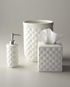 """""""Savoy"""" Vanity Accessories by Kassatex at Horchow. Love these for guest bath! Also available: jar with lid and vanity tray. Tissue Box Covers, Tissue Boxes, Tissue Holders, Cheap Bathroom Accessories, Decorative Accessories, Vanity Tray, Vanity Set, Bathroom Soap Dispenser, Pink Baths"""