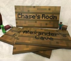 """Minecraft Inspired Foam backed Signs – 8 """" x – – Game Room İdeas 2020 Minecraft Party, Craft Minecraft, Minecraft Meme, Minecraft Houses, Minecraft Skins, Creeper Minecraft, Minecraft Perler, Boys Minecraft Bedroom, Minecraft Room Decor"""