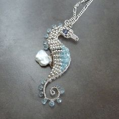 Aquamarine and Silver Seahorse Pendant Necklace by pippijewelry, $172.00